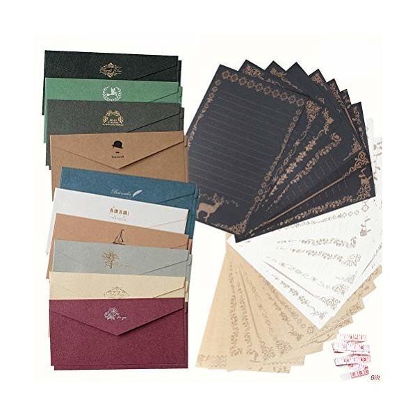 shiyi アンティークレターセット封筒20枚 便箋3色24枚 かわいい メッセージカード封筒付き グリーティングカー