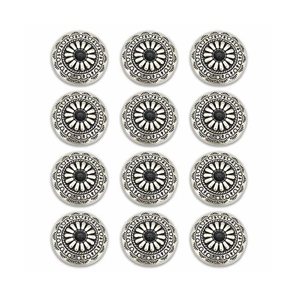 コンチョ ボタン 12個セット ネジ式 30mm ターコイズ デージー柄 レザークラフト 財布 手芸 装飾ボタン (ブラッ