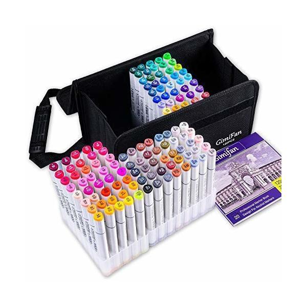 GimiFan マーカーペン 120色 セット ペンスタンド ホワイト ライナーペン 油性 太字 細字 キャリングケース付き