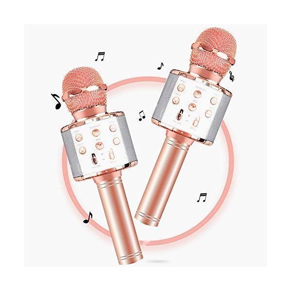 カラオケマイクbluetooth ポータブルスピーカー ワイヤレスマイク 音楽再生 録音可能  伴奏機能付き カ