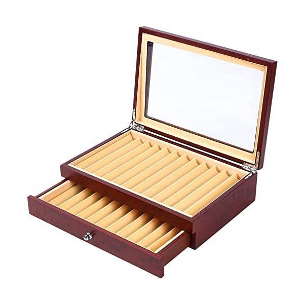 ybaymy 万年筆ケース 23本 ペンディスプレイボックス 万年筆ケース 赤い木製ペンケース 高級 ガラスペンディス
