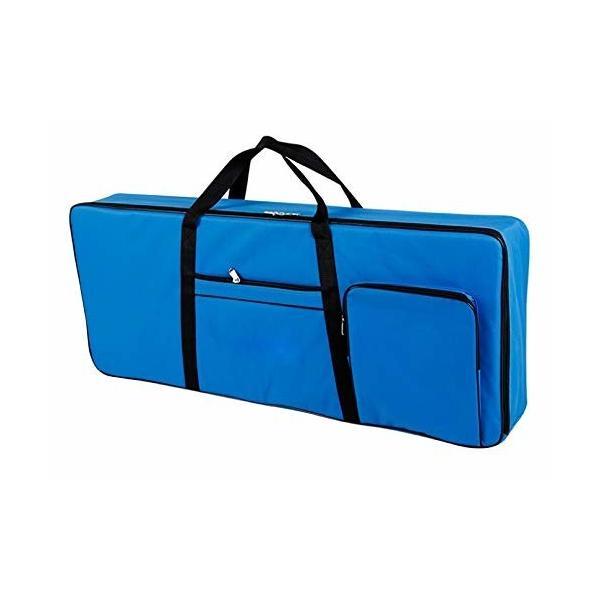 シンプル キーボードカバー 電子ピアノ 61鍵用 ファスナー付き ハード ケース 手さげ リュック (ブルー(2))