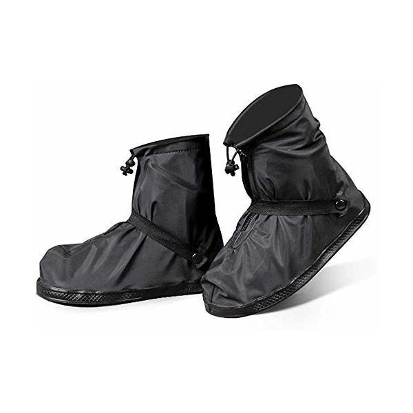 (MaxWant)シューズカバー靴カバーメンズレディース防水雨雪泥除け滑り止め軽量携帯可(3XL,ブラック)