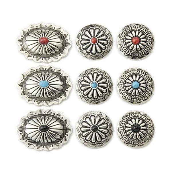コンチョ ボタン 9個セット ターコイズ 楕円 30mm メタルボタン 足つき レザークラフト アクセサリー 手芸