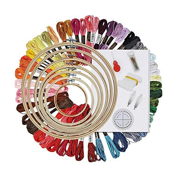 HAUSPROFI 刺しゅうキット 103PCs 7枚刺しゅう枠 30本刺繍針 50種刺繍糸 巻き取りツール 糸通し 手芸編み器 刺繍用