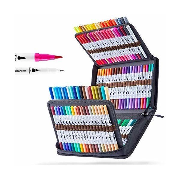 Ohuhu アートマーカーペン 120色 水性 筆先 水彩ペン 水性 ふでタイプ ふで・極細 ブラッシュ 鮮やか イラスト