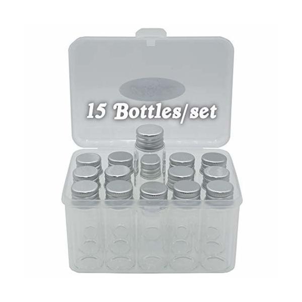 Cali&Brita 小瓶 ガラス瓶 15個 セット 塗料 プラモデル ハーバリウム 保存 容器 小分け [ファイ]22×60mm 14ml