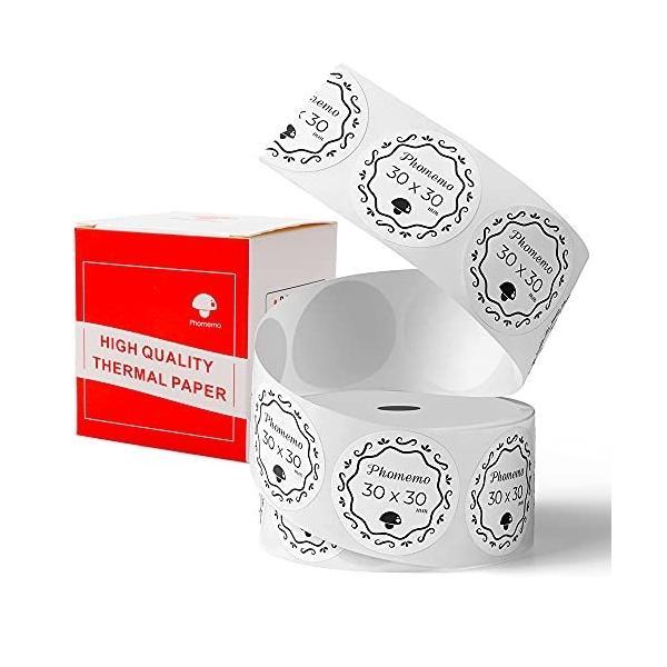 Phomemo M110対応 純正 ラベルシール 感熱ロール紙 シール 値札 30mm*30mm 丸形タイプ 200枚入り/巻 感熱ラベルプリン