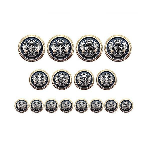 ボタン ブレザー ボタン メタルボタン レトロなボタン 洋服用 コート用ボタン 交換 修理 16個 (ゴールデン ブ