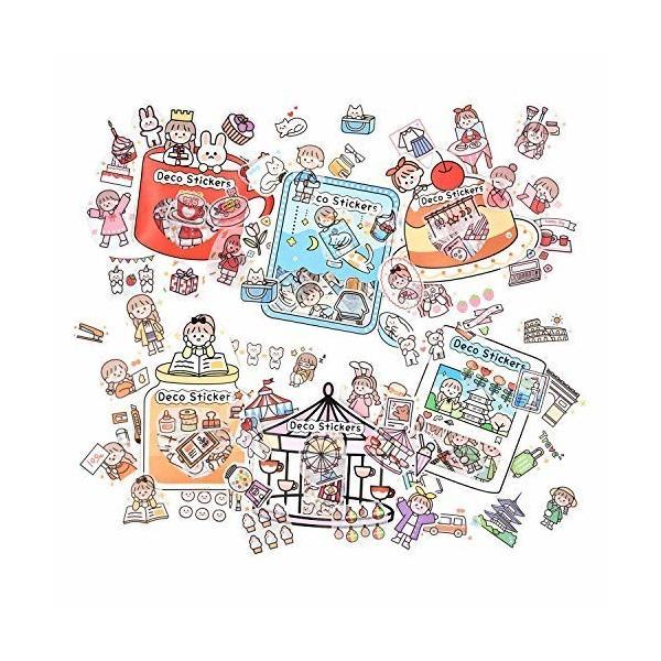 6袋 手帳シール スクラップブックステッカー 和紙ステッカー 子供の装飾ステッカー プランナーステッカー 240