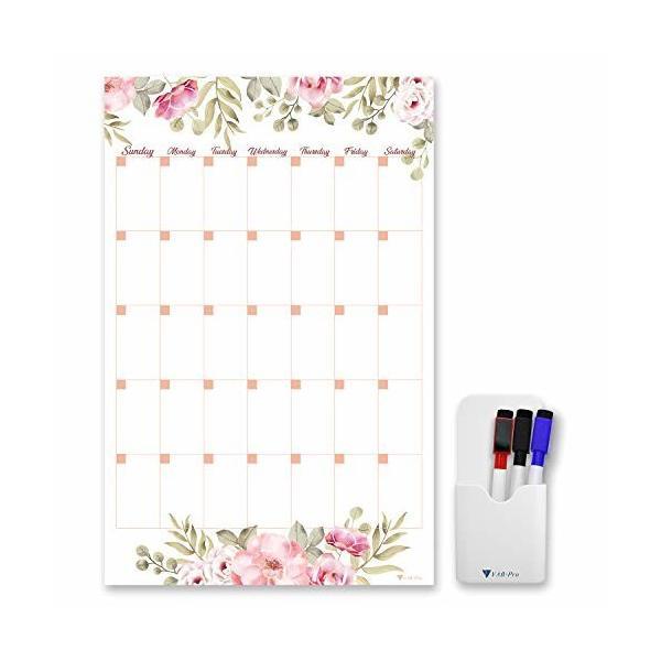 V VAB-PRO ホワイトボードセット 冷蔵庫 マグネットシート カレンダー 月間予定表 フラワー 花柄 サイズ:28x43cm