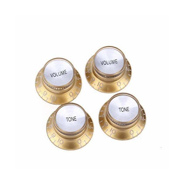 MusiclilyProインチ規格リフレクターノブ2ボリューム2トーンUSAレスポールSGギター用ゴールド/シルバートッ