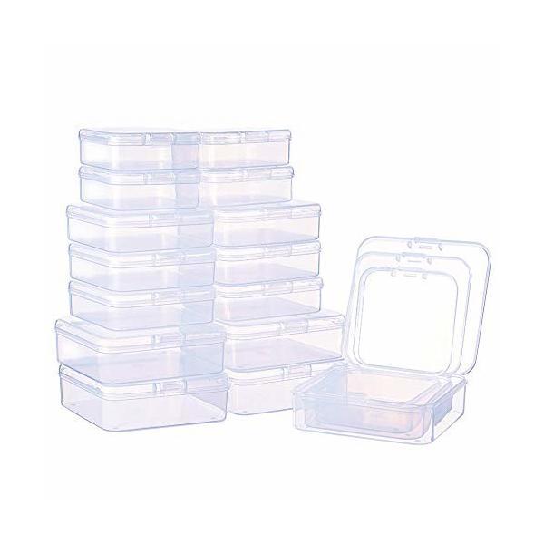 BENECREAT 27個正方形透明収納ボックス 蓋つき 3つサイズセット アクセサリー収納ボックス ビーズ アクセサリー