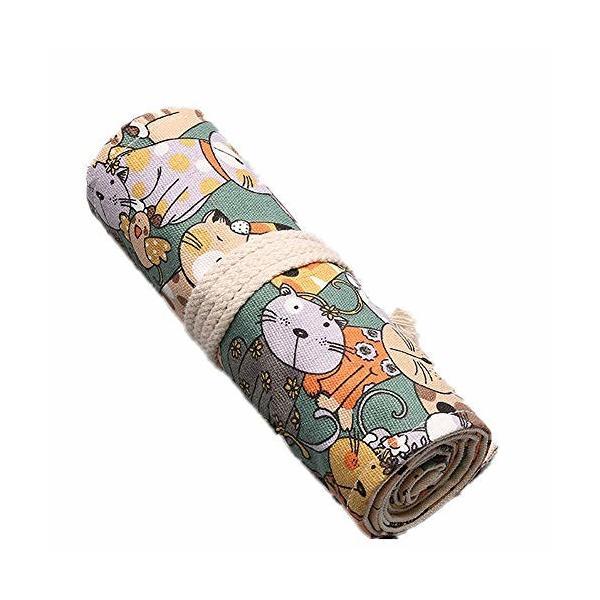QooFit 色鉛筆収納バッグ 帆布 巻き型 36穴 鉛筆ホルダー 色鉛筆なし(かわいい猫柄)