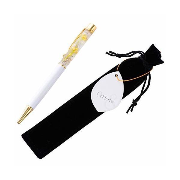 (ファンファン) &Herba ハーバリウム ボールペン 花 ギフト プレゼントおしゃれ ホワイト 完成品 ベロア調ペン
