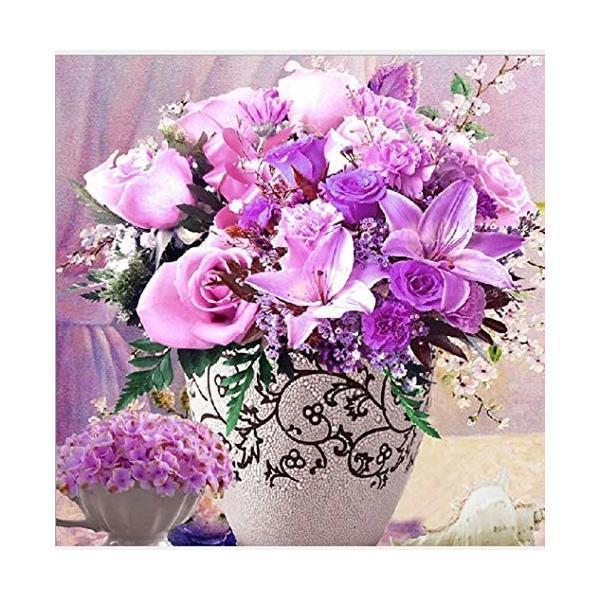 クロステッチキッド 中国刺繍 DIY ししゅうキッド 図鑑印刷クロス 華やかな花シリーズ (紫薔薇)
