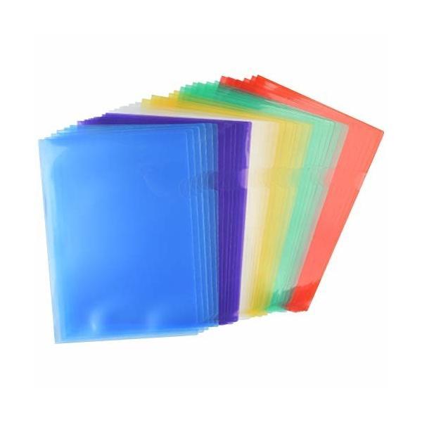 Idealeben クリアファイル A4 縦 クリアホルダー 6色5枚 計30枚入 通知表ホルダー A4 ファイル ケース 透明 薄型 資