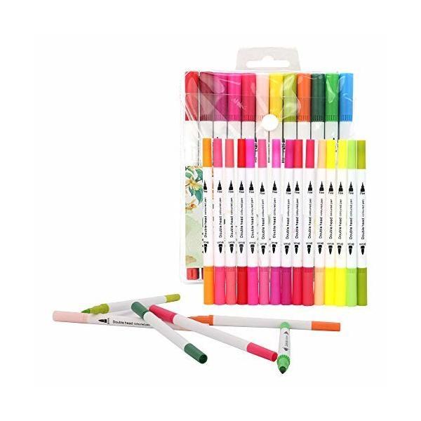 LncBoc アートマーカーペン 24色 水彩ペン 豊富な色 太細両端 油性 ツインマーカー色ペン コミック用 塗り絵 描