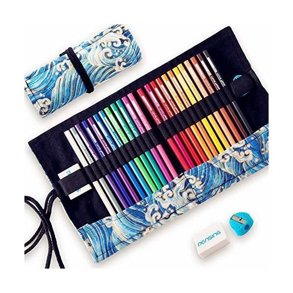 PENSING 消せる色鉛筆 24色 油性色鉛筆 画材セット 鉛筆削り 消しゴム付き エコいろえんぴつ 名入れ 塗り絵 お絵