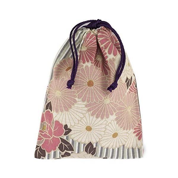 のレン 御朱印帳袋 巾着 25×19cm 日本製 和柄 レトロフラワー ピンクベージュ