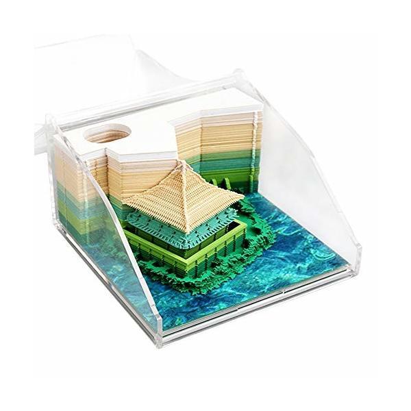 3Dメモ帳 3D立体Memo 紙の芸術 付箋紙 日本浮世絵 DIY 3D立体紙建築シーン模型組立 和風 収納ケース付き 130枚