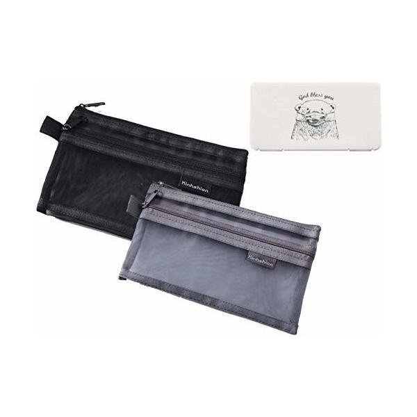 ペンケース メッシュペンポーチ 筆箱 黒 グレー 2点セット シンプル 透明 ペンポーチ 収納ポーチ 2点セット最