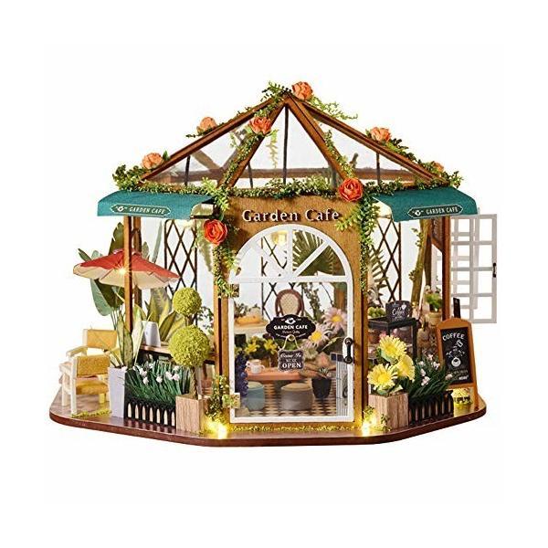 CuteBee DIY木製ドールハウス 、ガーデンカフェ、360°八角形のデザイン、ミニチュアコレクション、防塵カバー