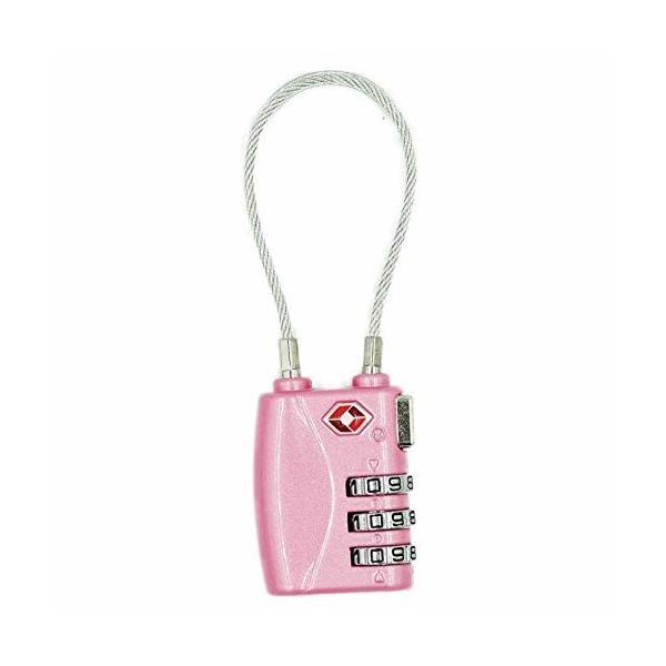 TSA ロック ワイヤーロック 旅行用 3桁ダイヤル式 旅行用 スーツケース ピンク 鍵