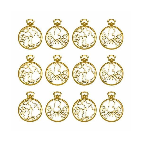 レジン枠 空枠 MUNCVY フレーム パーツ ゴールド 2種12個 セット uvクラフト 大量 カン付き 懐中時計 ウサギと午