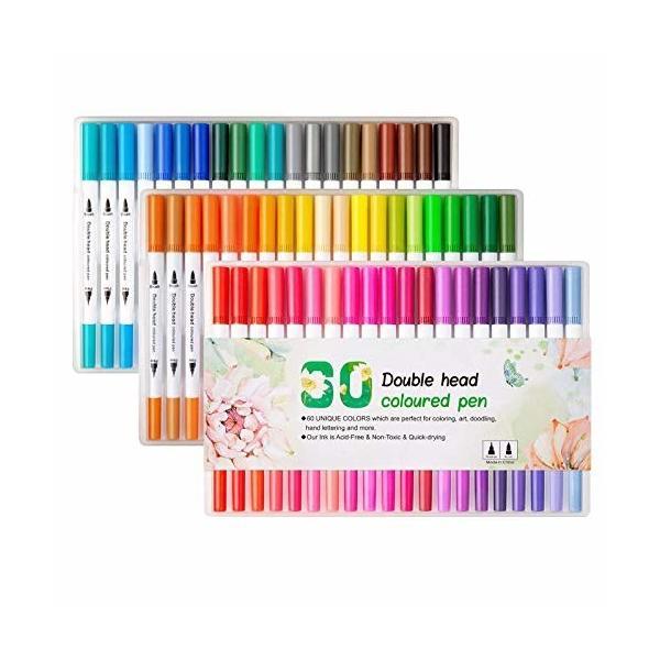 Yaomaisi カラー筆 マーカー筆 水彩毛筆 水性筆 60色セット 両端ペン 極細ペン 耐水 速乾 先大人と子供のための
