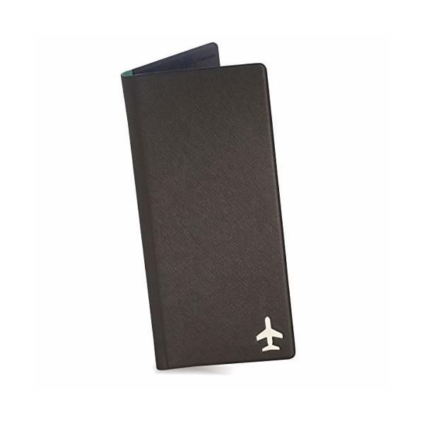 デザイナーズ FENICE 旅行用長財布 パスポートケース SIMカード PUレザー 97.5mm×210mm (ダークグレー)