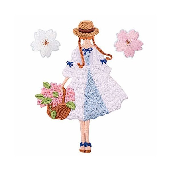 XUNHUI 桜 花 女の子 アップリケ ワッペン 刺繍 アイロン 接着 アップリケ 小さい花びらのアップリケ 3枚セット