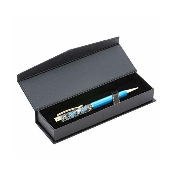 (ファンファン) &Herba ハーバリウム ボールペン 花 ギフト プレゼントおしゃれ ブルー 完成品 箱 BOX付き