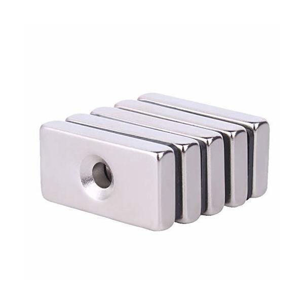 ネオジム磁石 20mm x 10mm x 5mm 皿穴4mm 方型 ボタン型 ネジ穴 マグネット (15個セット)