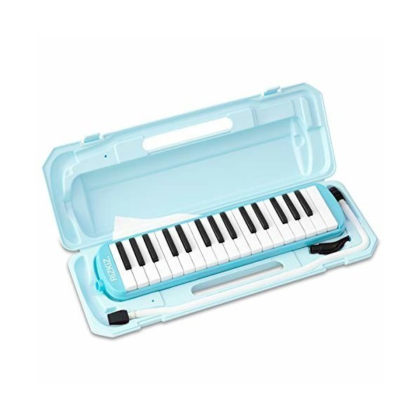 RiZKiZ 鍵盤ハーモニカ 32鍵盤  授業で使える 卓奏用 立奏用 ふき口 ホース ケース付 ホールドベルト 名前シール