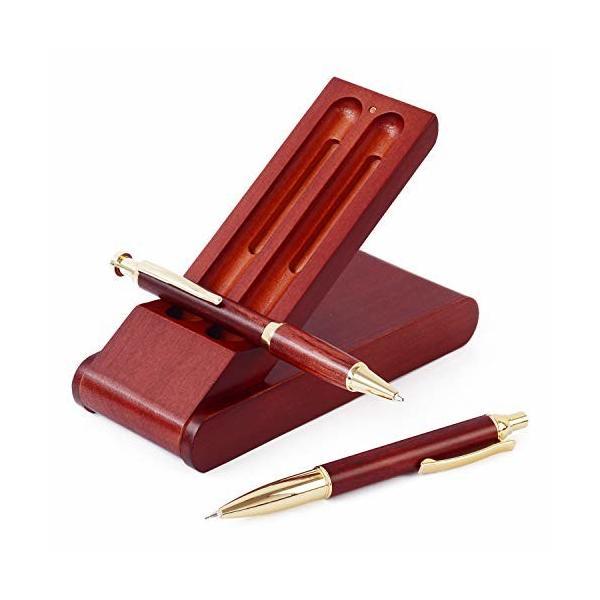 ボールペン セット 木製 シャーペン 立つ ペンケース 3点セット 高級 天然木 プレゼント ギフトボックス付 (ロ