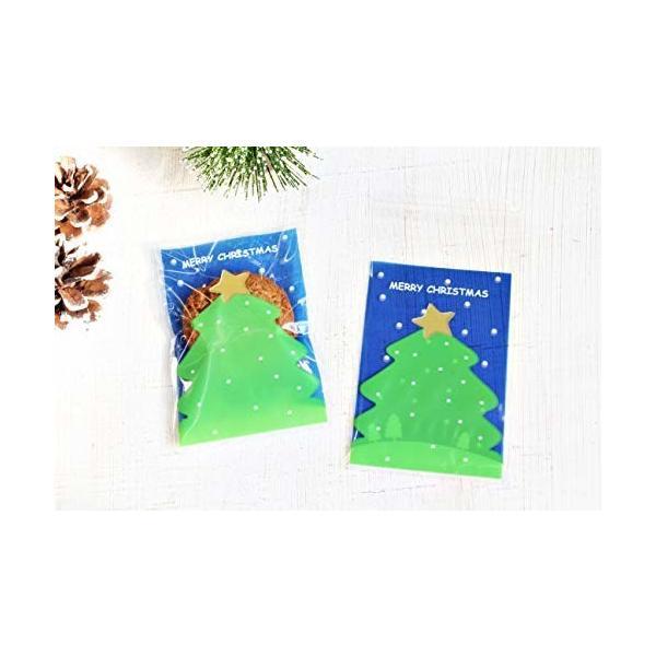 クリスマス ツリー 袋 小袋 お菓子 ラッピング 100枚 包装袋 小分け プレゼント (青)