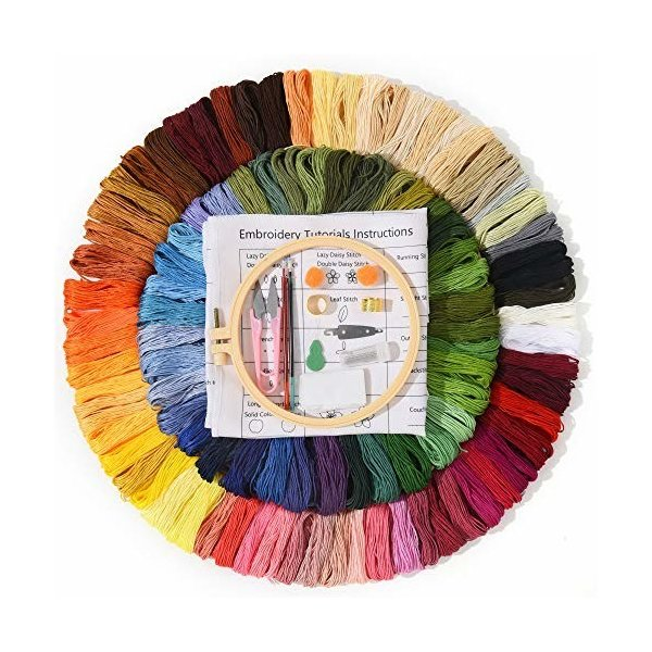 Embro4U 刺繍糸 100色 刺しゅうキット 刺繍ツールセット 刺繍針糸通し リストピンクッション 刺繍はさみ 刺繍枠