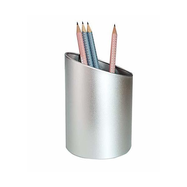 Produco 斜線 ペン立て 鉛筆立て ペンスタンド 事務 オフィス 机上収納 用品ケース, ブラシスタンド (シルバー)
