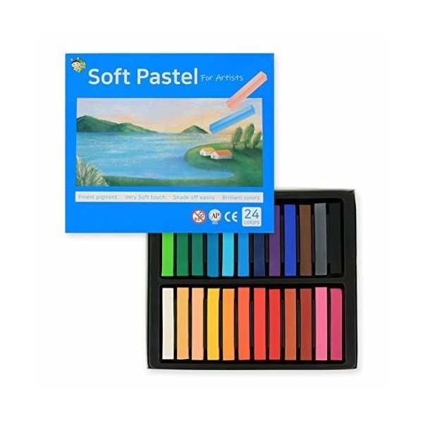 (24色) HASHI ハシ 専門家用 無毒性 ソフト パステル セット - チョーク パステル カラー soft long pastels For professiona