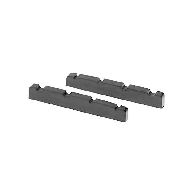 Musiclily Pro尿素樹脂プラスチック製 40mm 弦溝加工済みナット4弦 ジャズベース用フラットボトム、ブラック(2個