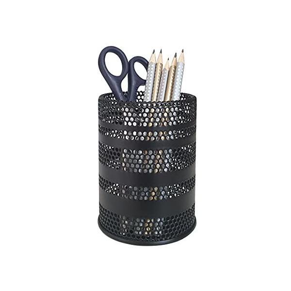 Produco ペン立て 鉛筆立て ペンスタンド 事務 オフィス 机上収納 用品ケース, ブラシスタンド (中) (ブラック) (
