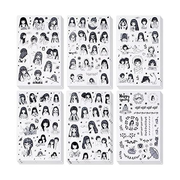 hanairo かわいい シール 18枚セット アルバム 手作り ステッカー 手帳 コラージュ 日記 デコレーション (女の