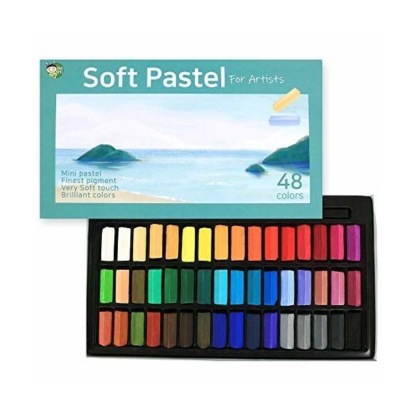 (48色) HASHI ハシ 専門家用 無毒性 ソフト パステル セット - チョーク パステル カラー soft short pastels For profession