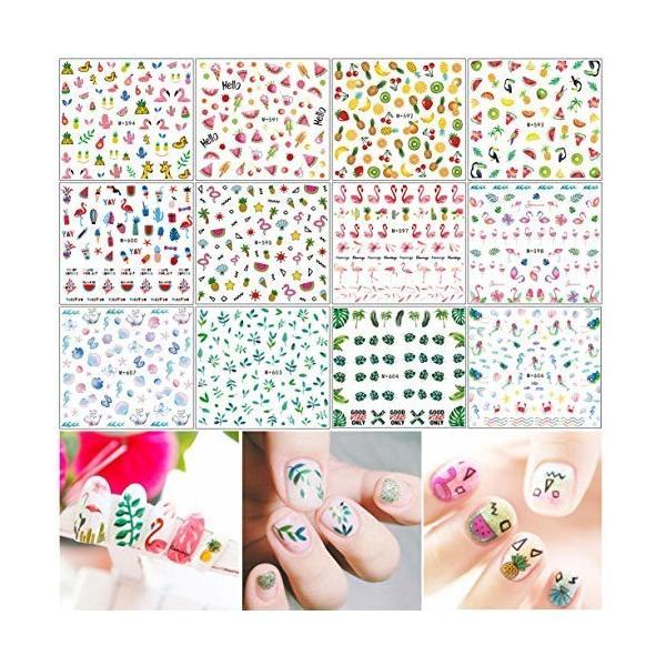 12枚 ネイルアートシール ミニパターン ネイルアート用 果物、花、貝殻、人魚、葉っぱ、鳥、動物柄など揃っ