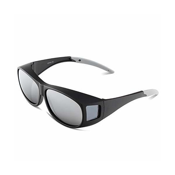 OULAIQI 花粉メガネ おしゃれ 花粉症メガネメガネの上から掛けられる オーバーサングラス 偏光レンズ UVカット