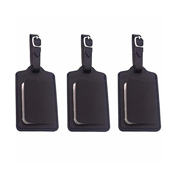 荷物ネームタグ 紛失防止 レザー スーツケースタグ 3枚入り バッグ用ネームタグ ネームプレート 番号札 出張