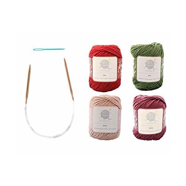 mindfulknits編み針、糸針、綿100%の編み糸を備えた初心者向け編み物キット(4)初心者向けのリラクゼーション