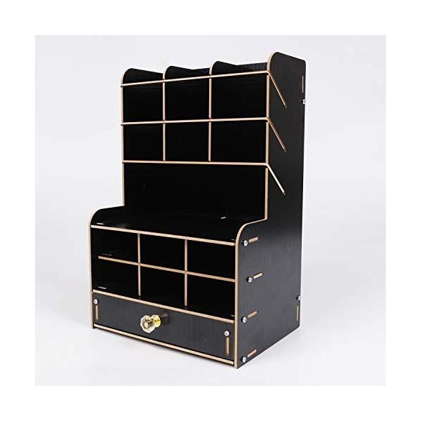 (シャンディニー) 卓上収納ボックス 引き出し 木製 大容量 ペン立て ペンスタンド ペン入れ 卓上 ブラック