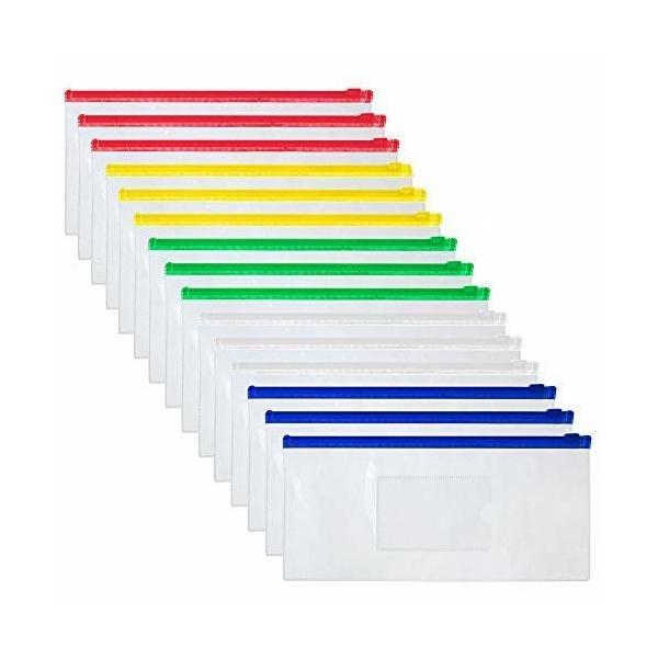 OFFICESHIP 15 PCSポリジッパー封筒ファイルホルダー透明A6 小切手サイズファイルバッグ ペンポーチペンシルケー